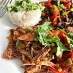 Plated Ropa Vieja with Black Beans and White Rice