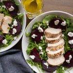 Beets Salad with Chicken and Arugola