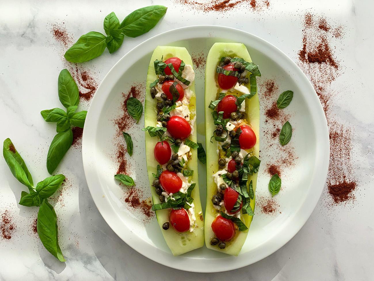 CUCUMBER BOATS WITH BURRATA CAPRESE