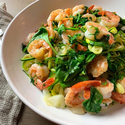 Zoodles Scampi and Spinach