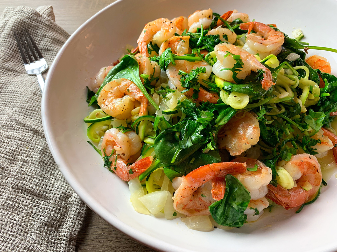 Zoodles with Scampi & Spinach