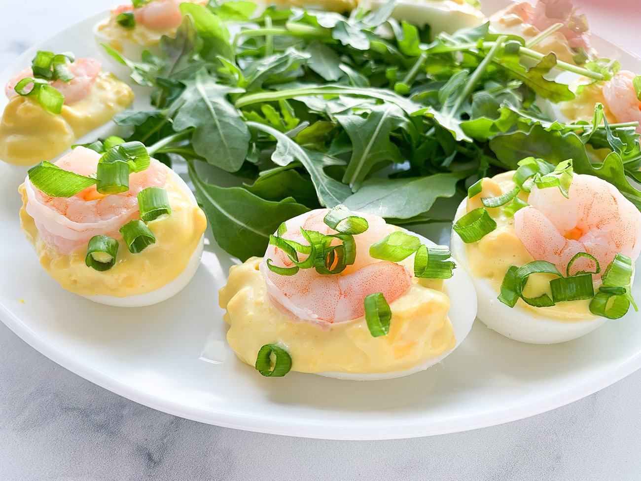 DEVILED EGGS WITH SHRIMP & WASABI MAYO