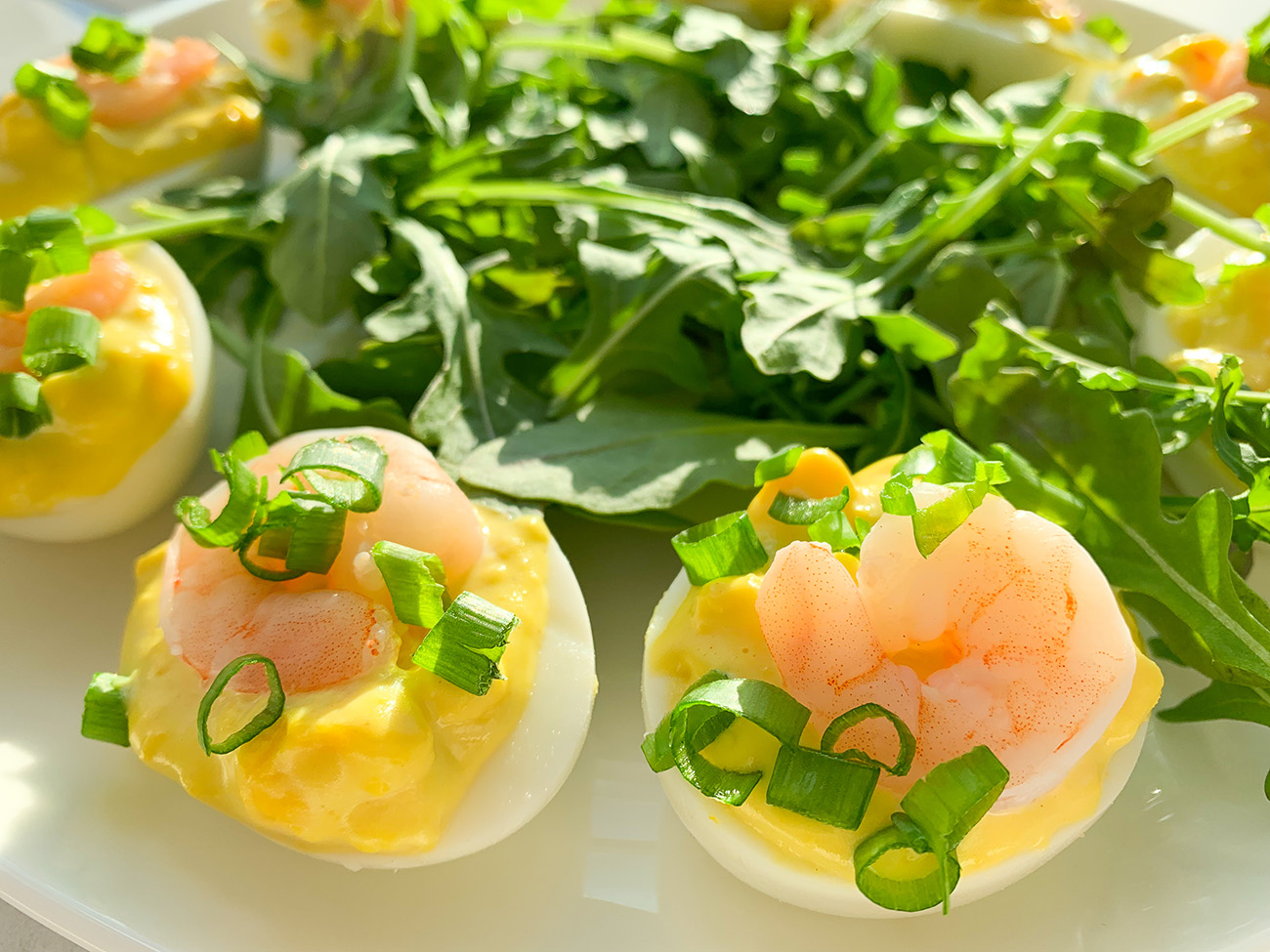 Deviled Eggs with Shrimp and Wasabi Mayo
