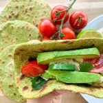 Spinach Cassava Tortillas stuffed with avocado, chicken, tomatoes