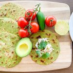 Spinach Cassava Tortillas with Chicken, Tomatoes, Avocado, Jalapeno and Lime