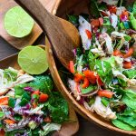 LIME CHICKEN SALAD IN A BOWL AND ON A PLATE