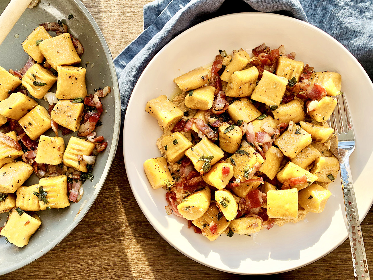 Sweet Potato Gnocchi with Bacon, Sage and Shallots on a plate