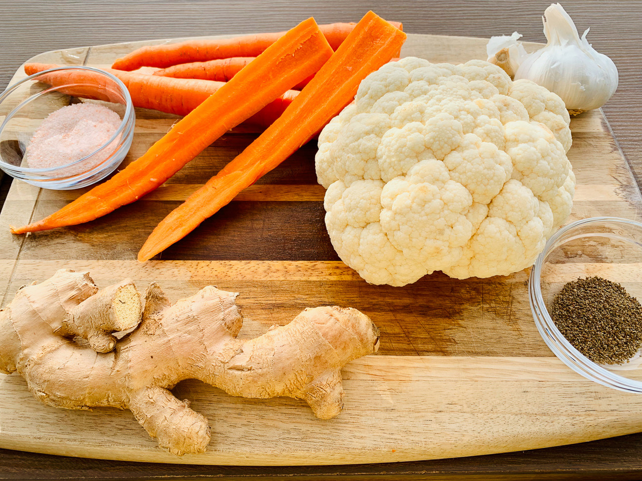 Ingredients for Fermented Cauliflower and Carrots with Ginger, Garlic and Celery Seeds