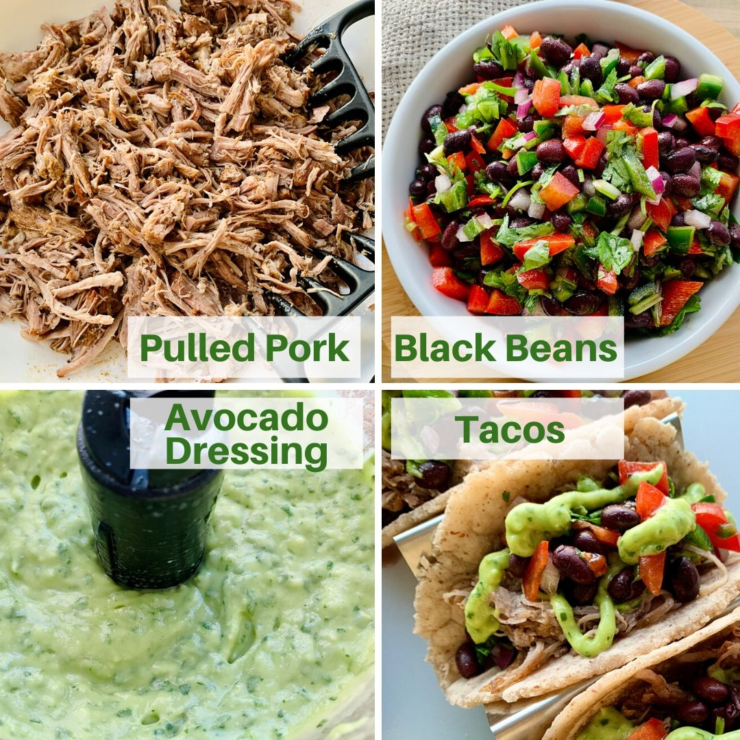 Elements and Ingredients for Instant Pot Tacos de Carnitas or Pulled Pork
