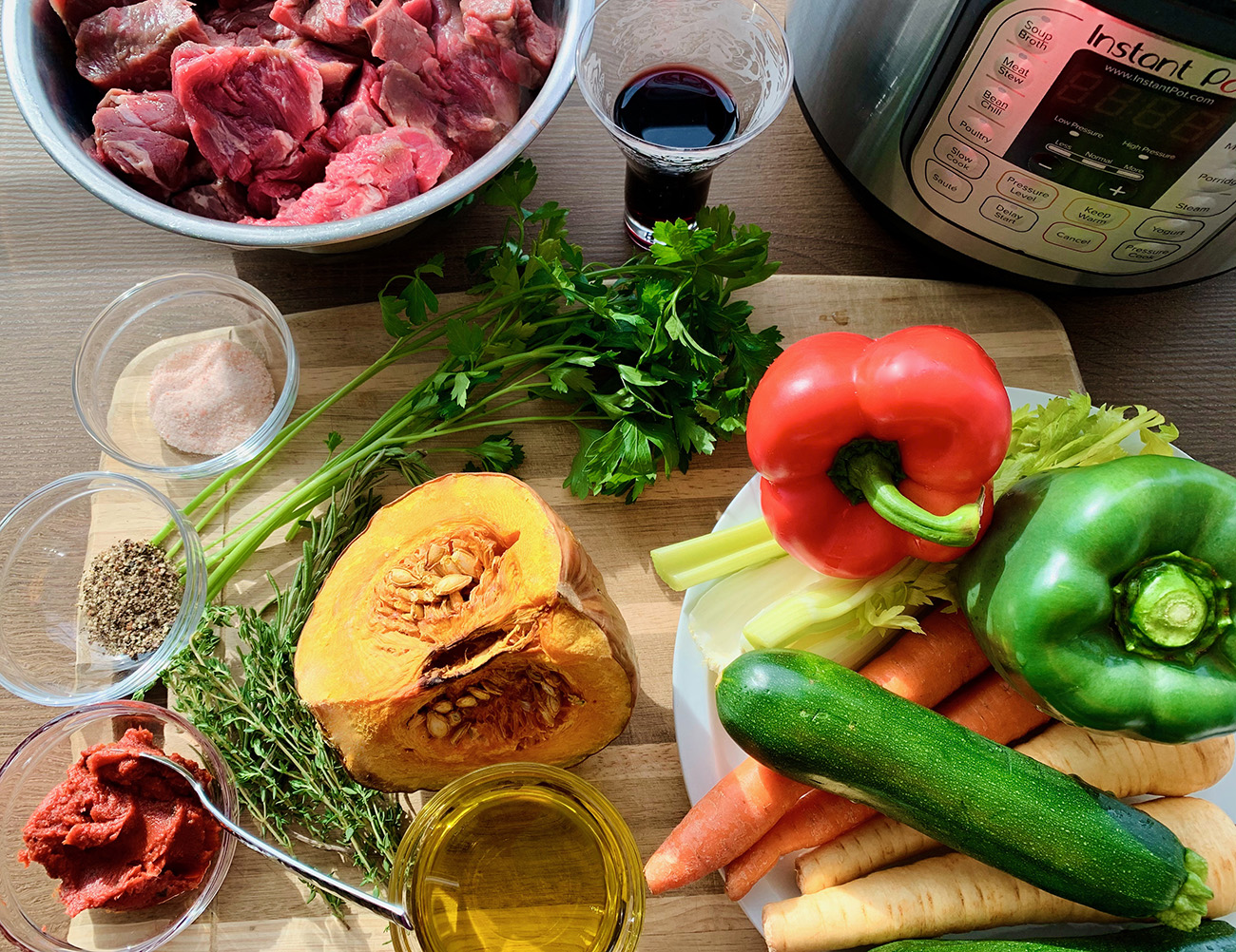 Ingredients for Instant Pot Beef Stew. Full Paleo recipe