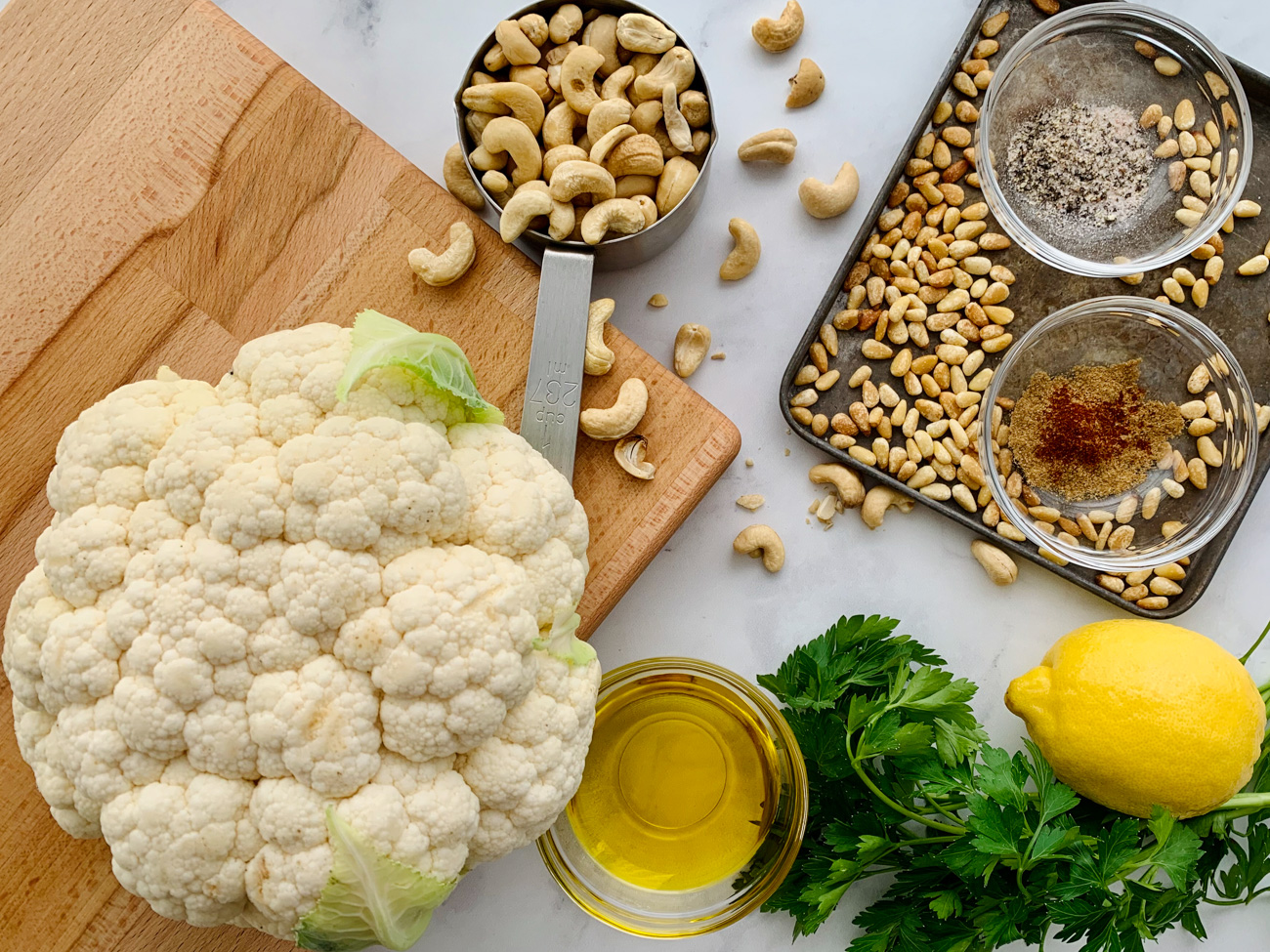 Ingredients for paleo roasted cauliflower hummus