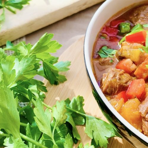 Instant Pot Beef Stew with bunch of parsley