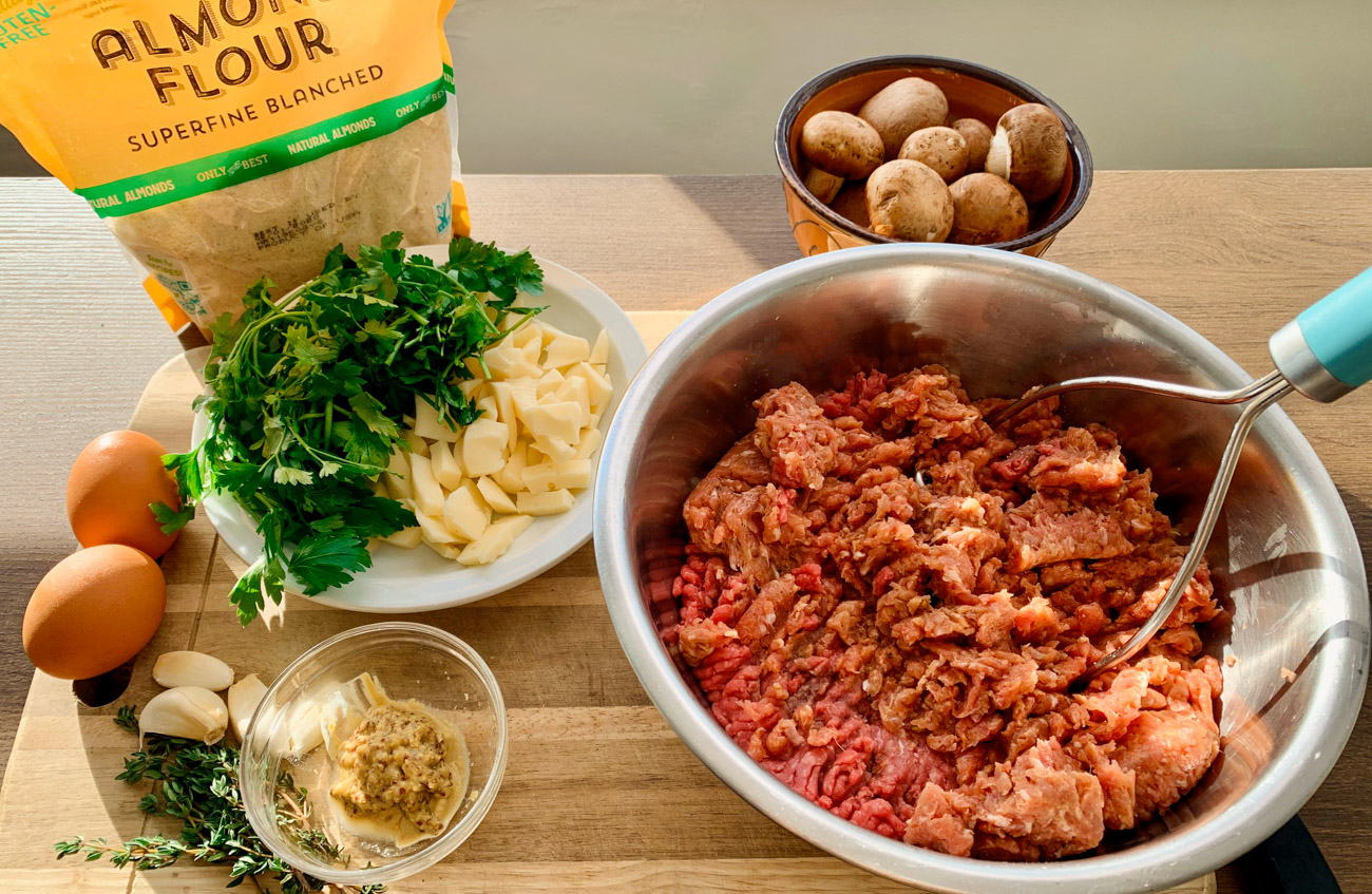 Ingredients for MEATLOAF STUFFED WITH MUSHROOMS & FONTINA