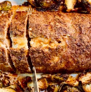Whole MEATLOAF STUFFED WITH MUSHROOMS & FONTINA with roasted Brussels Sprouts