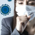 Woman coughing with surgical mask surrounded by drawings of a virus