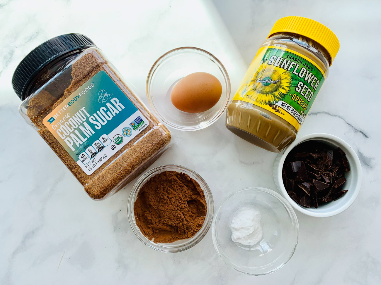 Ingredients for double chocolate sunflower cookies