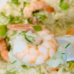 Risotto with Lox and Shrimp Close-up on Shrimp