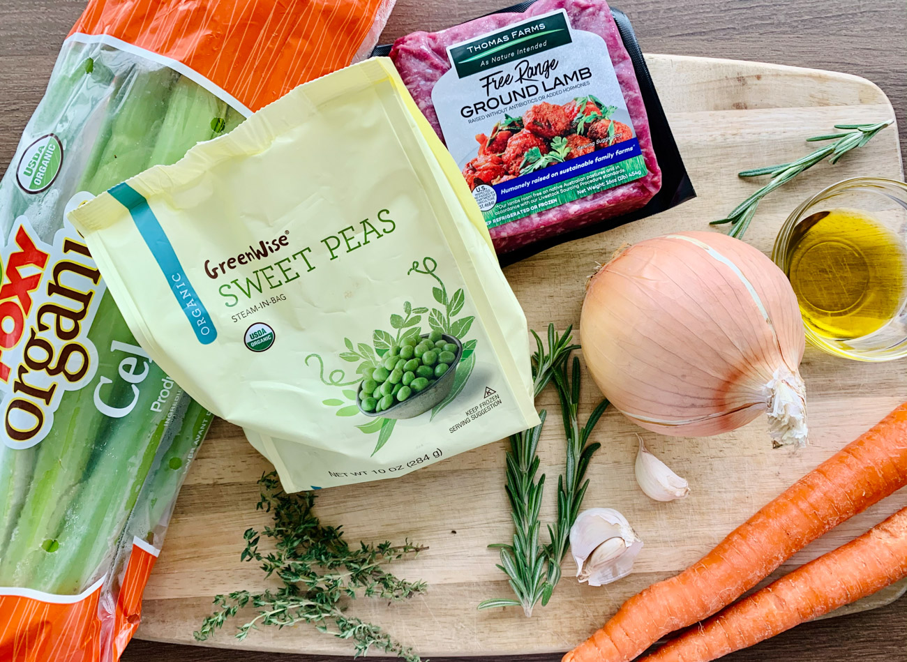 ingredients for low-carb SHEPHERD'S PIE with mashed cauliflower