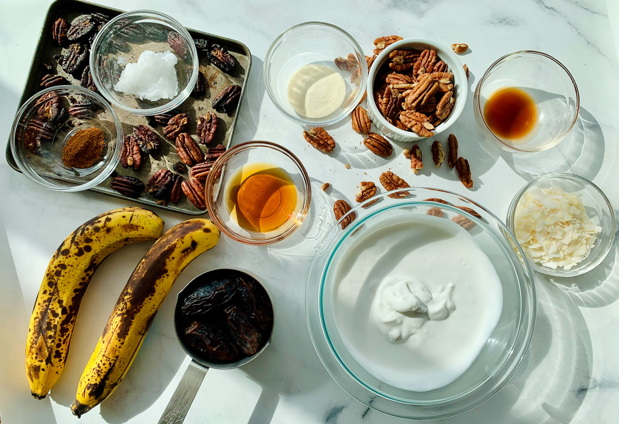 Ingredients for Paleo Banana Pecan Parfaits