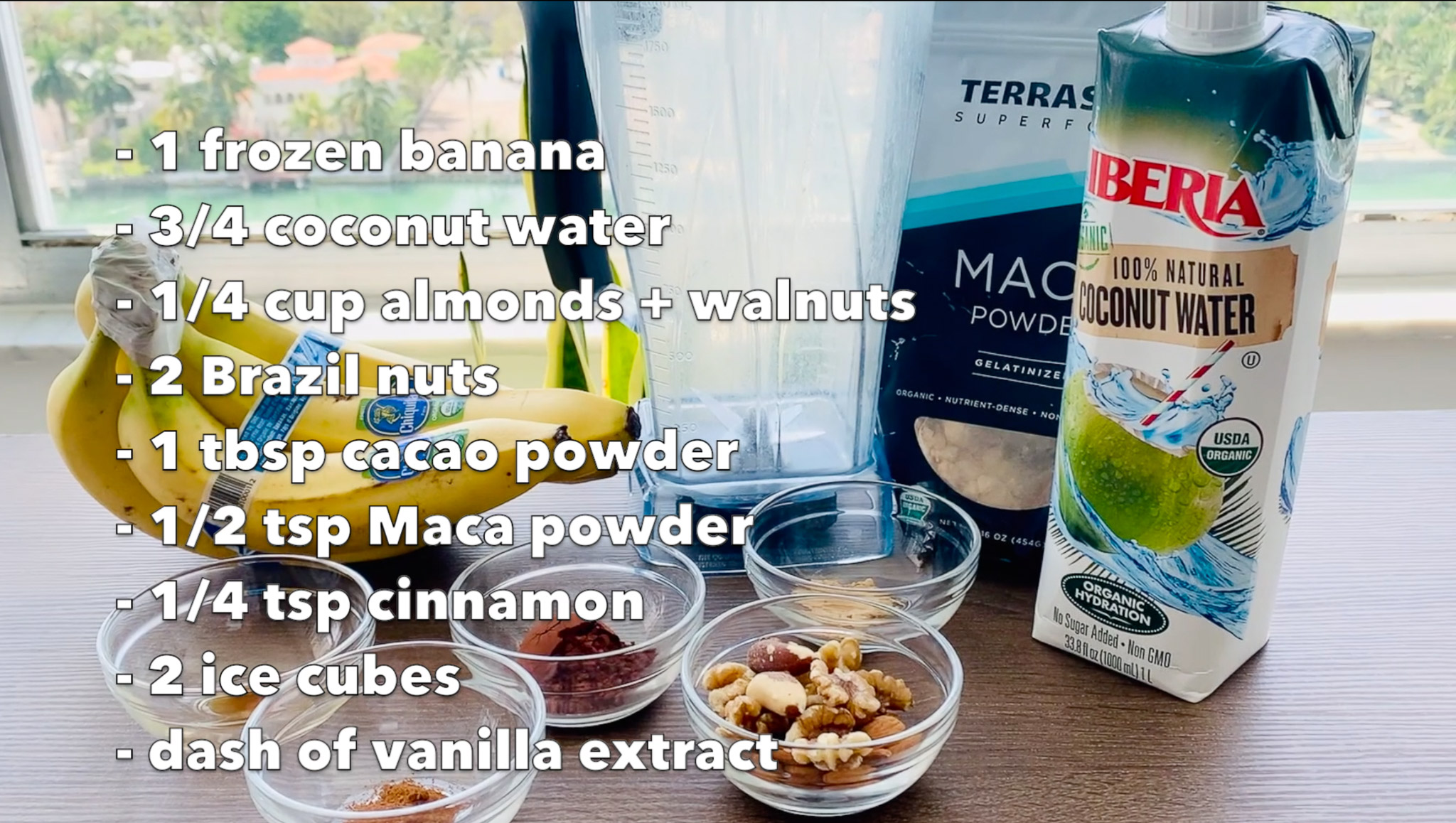 Choco Nutty Energy Smoothie Ingredients